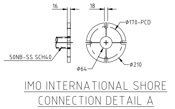 Standard discharge connections for Piping ( shore connection flange